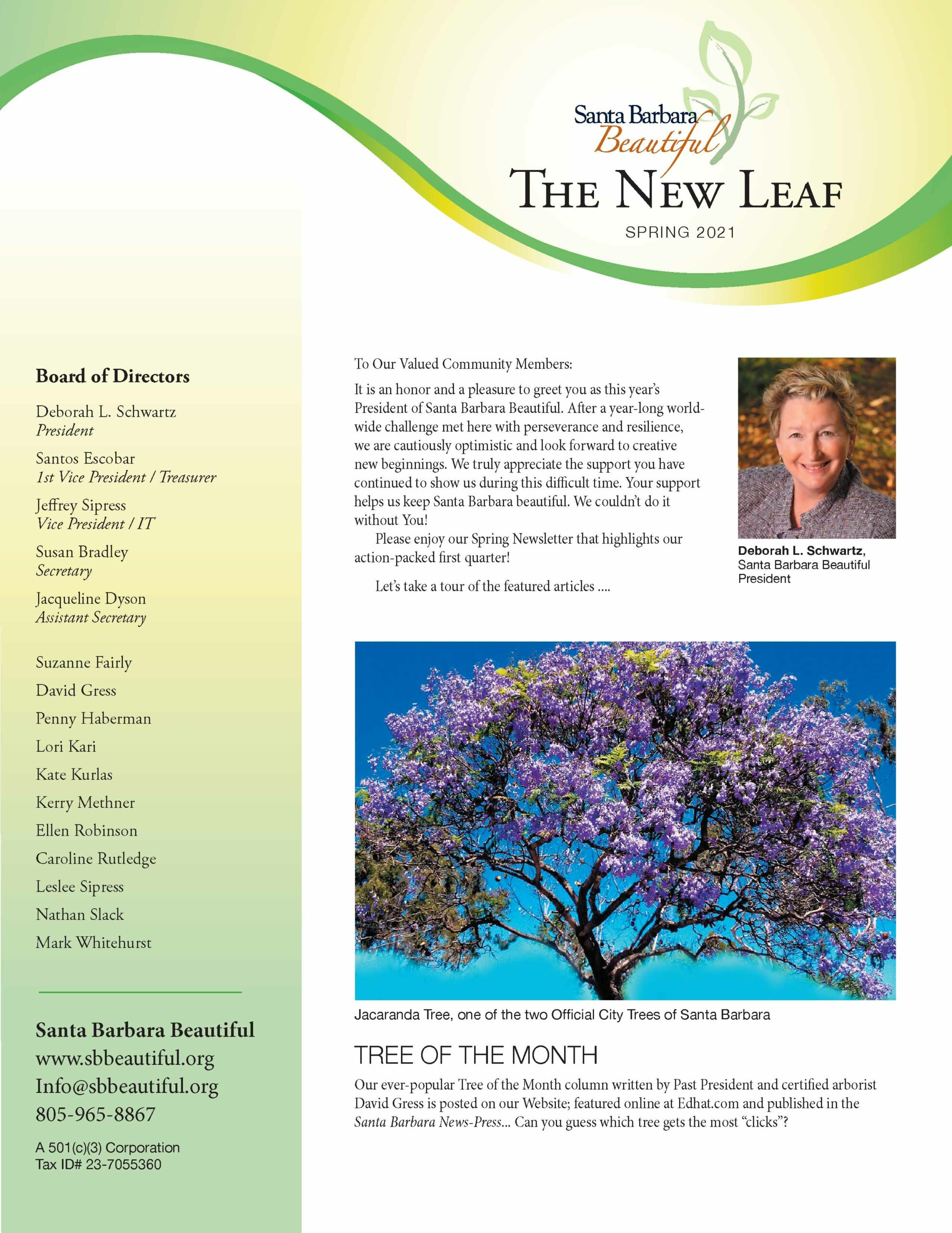 santa barbara beautiful new leaf newsletter spring 2021
